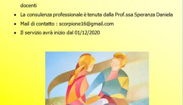 Servizio di supporto psicologico a studenti e docenti dal 1dicembre 2020
